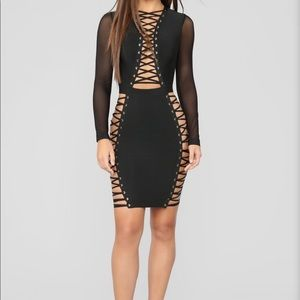Black mesh/laced up dress